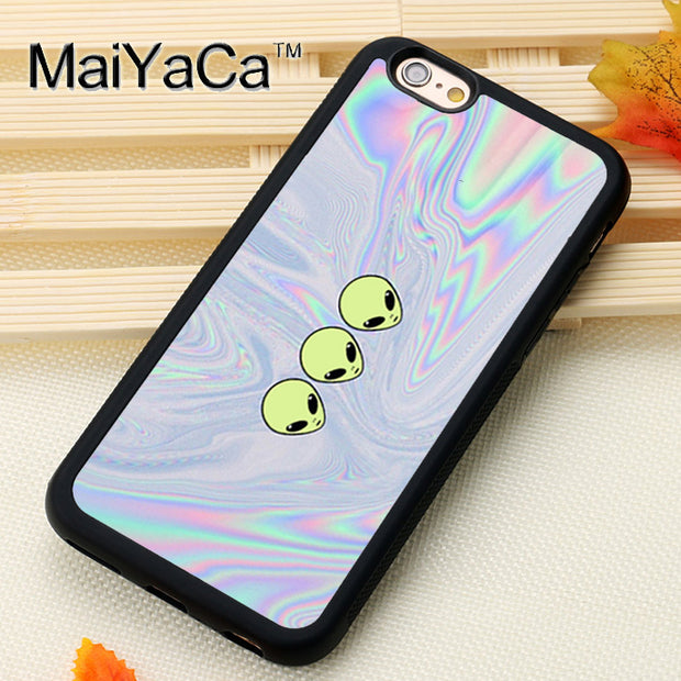 MaiYaCa Funny Alien Pattern Printed Mobile Phone Cases For IPhone 6 6S Plus 7 8 Plus X 5 5S SE Soft Rubber Skin Back Cover Shell