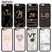 MaiYaCa PERSONALISED GOLD HEART MARBLE CUSTOM INITIALS NAME Soft Rubber Phone Cases For IPhone 6S 7 8 Plus X XR XS MAX SE Cover