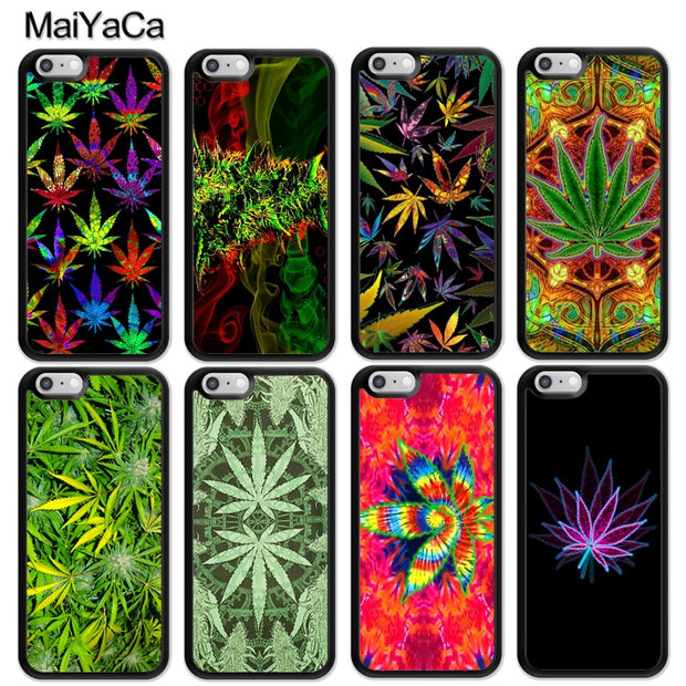 MaiYaCa Weed Leaf Leaves Green Printed Luxury Mobile Phone Cases OEM For IPhone 6S 7 8 Plus X XR XS MAX 5S SE Soft Rubber Cover
