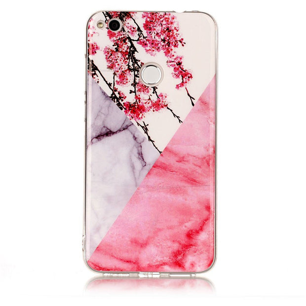 Marble Floral Case For Huawei P9 Lite 2017 Phone Back Case Soft Silicone Cover For Funda Huawei Enjoy 7 Capa Capinha Etui