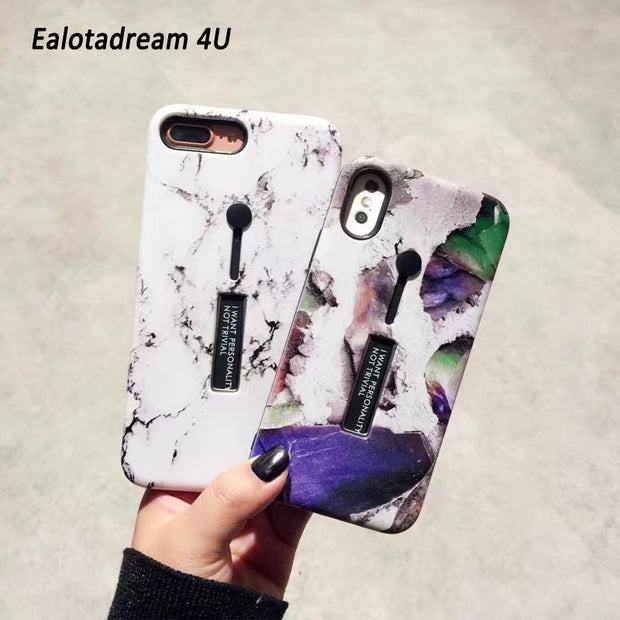 Marble PC Cover For IPhone 6 6s 6Plus 7 7Plus 8 8Plus X Case Ring Slim For IPhone 6 6s 6Plus 7 Marble Cases Ring Holder Armor