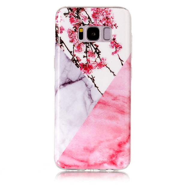 Marble Soft Case Girl For Samsung Galaxy S8 Plus Pink Flower Stone Back Phone Cover For Samsung S8 Plus Vintage Capinha Etui