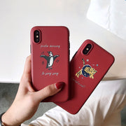 Matte Phone Cases For Iphone X 6 6s 7 8 7plus Cartoon Dancing Penguin Tiger Soft TPU Case For Iphone X Back Cover