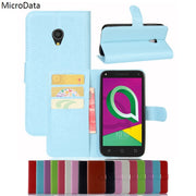 MicroData Luxury PU Leather Flip Case For Alcatel U5 3G 4047D 4047 5.0 Inch Wallet Stand Leather Case Cover On Alcatel U5 3G
