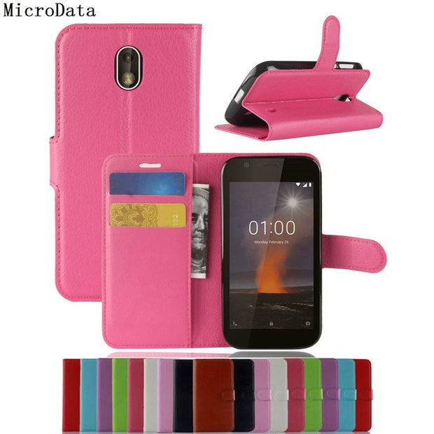 finest selection c8116 4a8b1 MicroData Luxury PU Leather Flip Case For Nokia 1 TA-1047 TA-1060 TA-1056  TA-1079 TA-1066 Wallet Stand Leather Case Cover