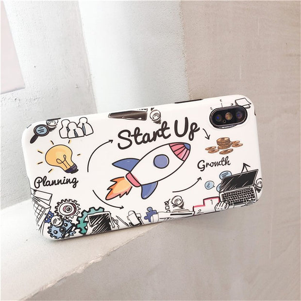 Mr.orange Cartoon Graffiti Rocket Phone Cases For Iphone X 6 6s 7 8 7plus Matte Soft TPU Case For Iphone X Case Back Cover