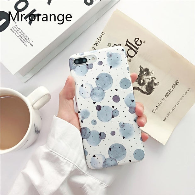 Mr.orange Dark Blue Vintage Polka Dots Phone Case For Iphone 7 Fresh Soft Silicone Case For Iphone 6 6s 8 Plus Back Cover Capa