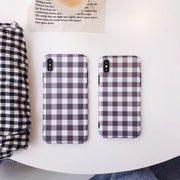 Mr.orange Stylish British Brown Plaid Cell Phone Case For IPhone X XS XS Max 8 6s 6 7 Plus 5.5 Soft TPU Capas Covers Cute Simple
