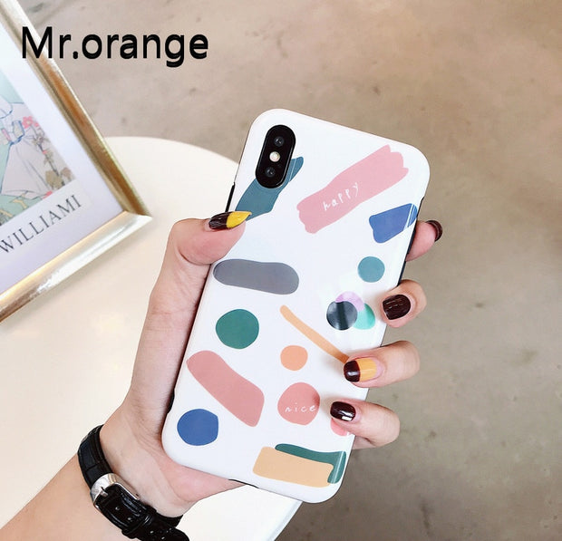 Mr.orangePhone Case For IPhone X 6 6S 7 8 Plus Geometric Letters Soft IMD Protective Colorful Phone Back Cover Cases Coque Gifts