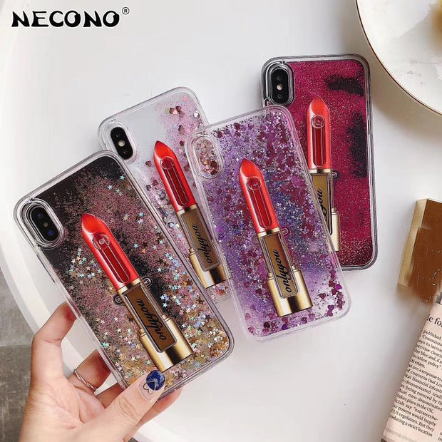 NECONO Luxury Glitter Quicksand 3D Lipstick Phone Case For IPhone 6 7 8 6s Plus X Liquid Paillette With Ring Holder Back Case