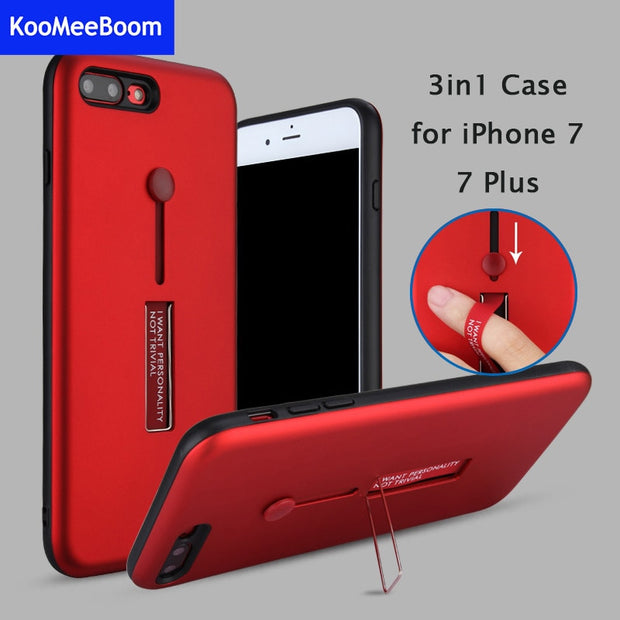 New Case For IPhone X 3 In 1 Back Cover Finger Ring Holder Stand Kickstand For Apple IPhone 6 6s 7 8 Plus