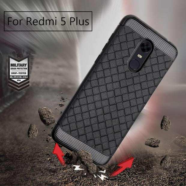 New Style For Xiaomi Redmi 5 Plus Case Fashion Weaving Pattern Protective Back Cover For Xiaomi Redmi 5 Mobile Phone SOFT Case