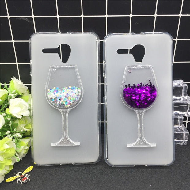 New Thick Dynamic Liquid Phone Cases For Alcatel One Touch Pop 3 5.5 5025D 5025 Sequins Soft Silicon Back Cover Sand Capa Cup