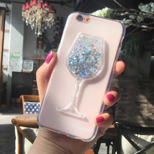 New Thick Dynamic Liquid Phone Cases For Apple IPhone 5C Heart Glitter Sequins Soft Silicon Back Cover Sand Capa Cup