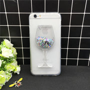 New Thick Dynamic Liquid Phone Cases For Apple IPhone X Heart Glitter Sequins Soft Silicon Back Cover Sand Capa Cup