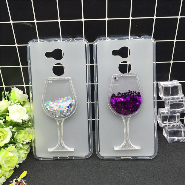 New Thick Dynamic Liquid Phone Cases For Huawei Honor 6A Heart Glitter Sequins Soft Silicon Back Cover Sand Capa Cup
