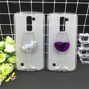 New Thick Dynamic Liquid Phone Cases For LG X Mach / Xmach Heart Glitter Sequins Soft Silicon Back Cover Sand Capa Cup