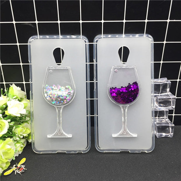 New Thick Dynamic Liquid Phone Cases For Meizu A5 M5C M710h Heart Glitter Sequins Soft Silicon Back Cover Sand Capa Cup