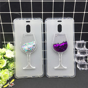 New Thick Dynamic Liquid Phone Cases For Meizu M6 Note Heart Glitter Sequins Soft Silicon Back Cover Sand Capa Cup