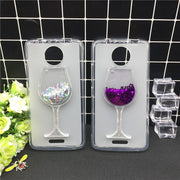 New Thick Dynamic Liquid Phone Cases For Motorola Moto C XT1750 XT1754 XT1755 Heart Glitter Sequins Soft Silicon Back Cover Sand