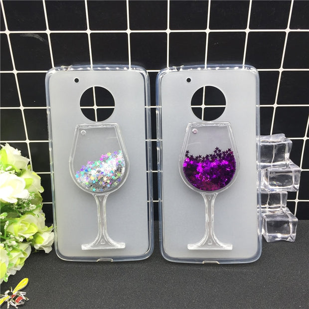 New Thick Dynamic Liquid Phone Cases For Motorola Moto G5 Heart Glitter Sequins Soft Silicon Back Cover Sand