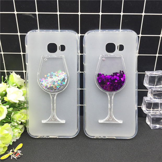 New Thick Dynamic Liquid Phone Cases For Samsung Galaxy J7 Prime SM-G610F Glitter Sequins Soft Silicon Back Cover Sand Capa Cup