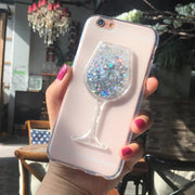 New Thick Dynamic Liquid Phone Cases For Ulefone S8 Heart Glitter Sequins Soft Silicon Back Cover Sand Capa Cup