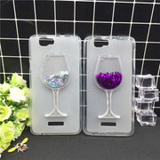 New Thick Dynamic Liquid Phone Cases For Wiko Rainbow Jam 3G Heart Glitter Sequins Soft Silicon Back Cover Sand Capa Cup