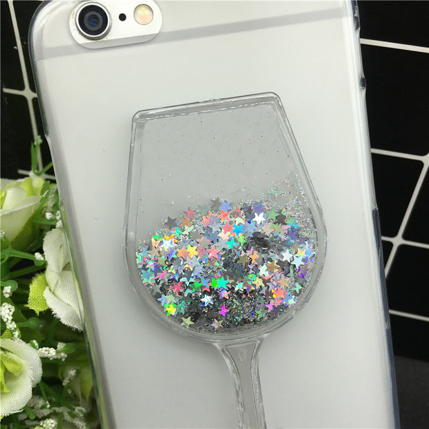 New Thick Dynamic Liquid Phone Cases For ZTE Blade V8 Mini Sequins Soft Silicon Back Cover Sand Capa Coque Cute Red Cup