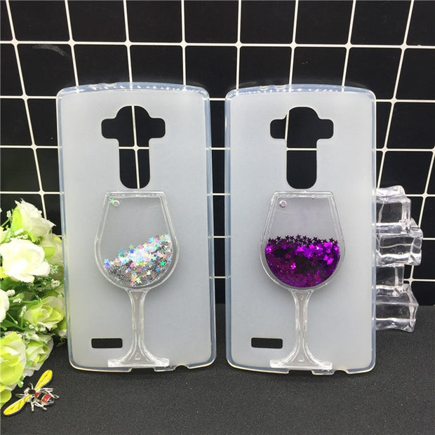 New Thick Dynamic Liquid Phone Cases R LG G4 Note / G Stylo / G4 Stylus LS770 Heart Glitter Sequins Soft Silicon Back Cover Sand