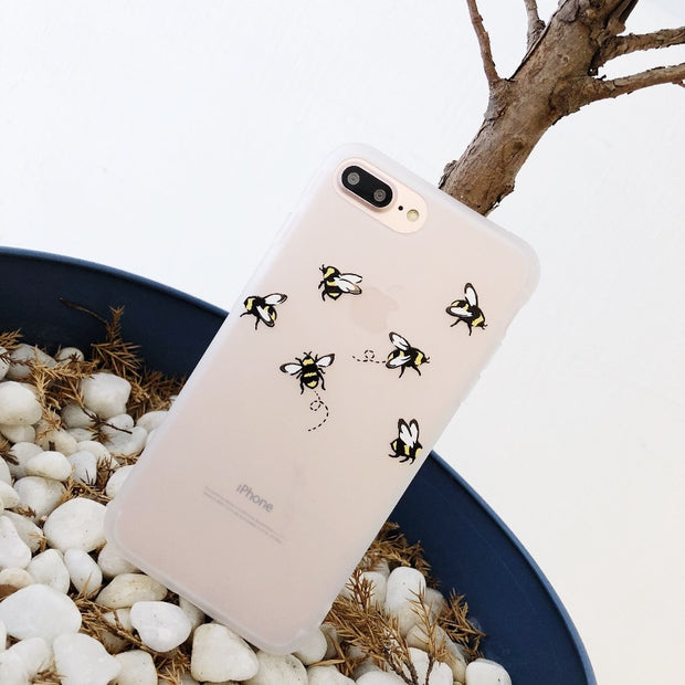 Newest Bee Butterfly Flower Soft TPU Case For IPhone X 8 8 Plus 7 7 Plus 6 6s 6 Plus Case Emboss Back Cover Fundas Coque