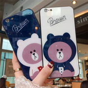 Newest Tempered Glass Phone Case For IPhone 6 6s 7 8 Plus Brown Bear Cartoon Pattern Case Back Cover For IPhone X