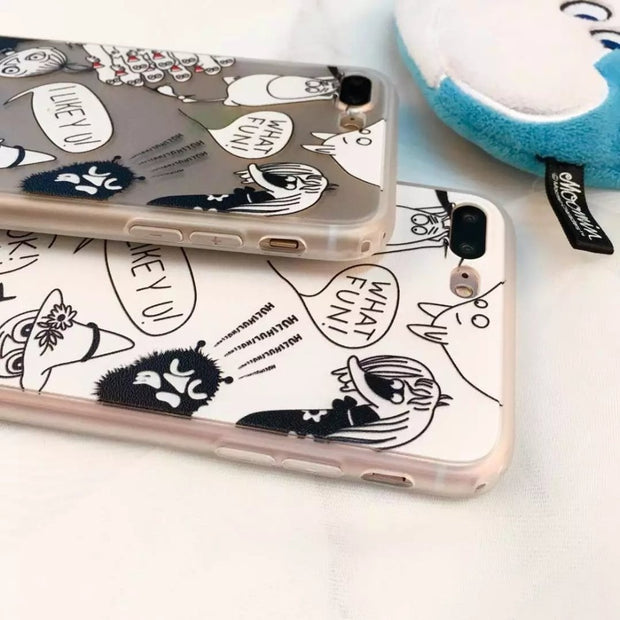 ORYKSZ Case Luxury Transparent Cartoon Hippocampus Case For Iphone 7 8 6S X 6 Plus Case Matte Soft Back Cover For Iphone X Case