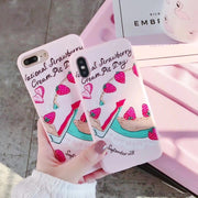 ORYKSZ Lovely Strawberry Patterned Phone Case For IPhone X Silicone Soft Phone Cases Back Cover Coque For IPhoneX 8 7 6 6s Plus