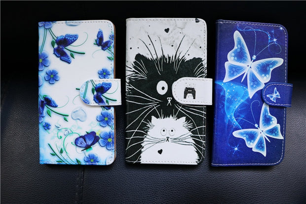 "PU Leather Slip-resistant Flip Print Wallet Case For ILA D1 Big Eyes Case Cover Book Case 5.2"" Ultra-thin Phone Cover"