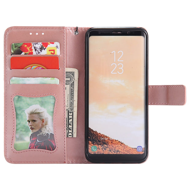 PU Leather Wallet Phone Case For Samsung Galaxy S6 S7 Edge S8 S9 Plus S5 S4 S3 Flip Cover Card Slot Stand Magnetic Fundas B132