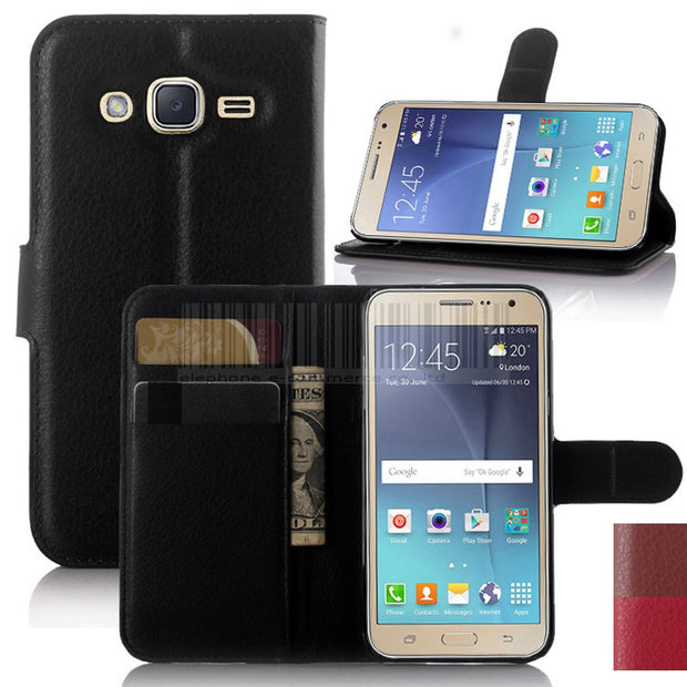 PU Leather Wallet Flip Case+Card Slot Kickstand Holder For Samsung Galaxy J3 2016 J320/J3 Sky 4G LTE/Amp Prime/Sol/Express Prime