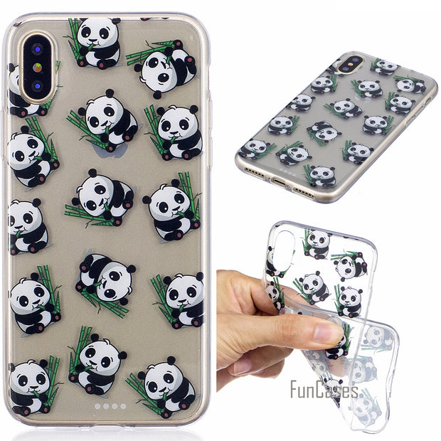 Pandas Phone Case For Samsung Galaxy S8 Plus A3 A5 2016 J3 J5 Prime J7 2017 Soft TPU Back Cover Case For IPhone X 8 Plus 7 6 5