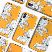 Petals Painted Floral Phone Cases For Iphone X XR XS XS Max Glossy Soft Silicone Case Back Cover For 6 6s 7 8 Plus
