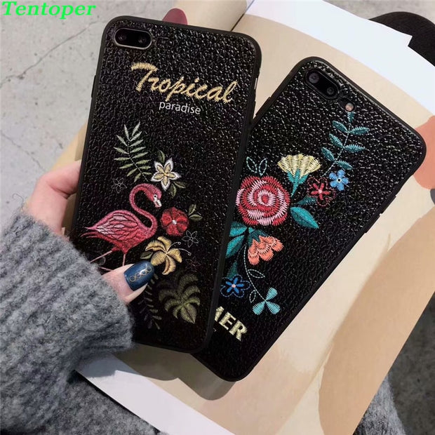buy online 7e8fc 5a8e0 Phone Case For Iphone X 8 8 Plus Luxury 3D Embroidery Rose Flower Flamingo  Leather Case For IPhone 6 6S Plus 7 7 Plus Cover Capa