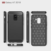 Phone Case For Samsung Galaxy A8 Plus (2018) Carbon Fiber Soft TPU Silicone Brushed Anti-knock Back Cover For A8+2018 Bags