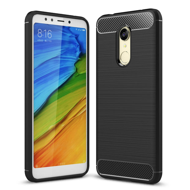 Phone Case For Xiaomi Redmi 5 5 Plus Carbon Fiber Soft TPU Silicone Brushed Anti-knock Back Cover For Redmi 5 5 Plus Bags