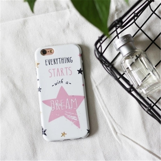 Phone Case For IPhone 6 6S Plus Ultrathin Durable Fashion Soft Starts Dream Scrub Protective Cover Cases For IPhone 7 8 Plus
