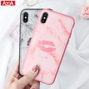 Phone Case For IPhone X Durable Super Cute Sexy Girl Lips Marble Leather Lovely Soft Pink Cover Cases For IPhone 6 6S 7 8 Plus