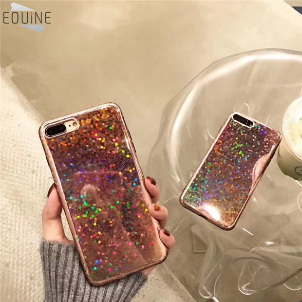 Phone Case For IPhone X Ultrathin Durable Fashion Cute Shiny Sequins Cool Laser Bling Soft Cover Cases For IPhone 6 6S 7 8 Plus