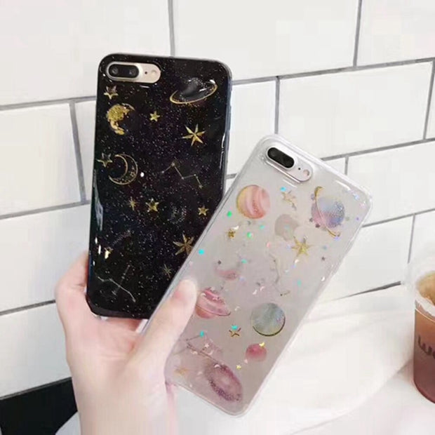 Phone Cases For IPhone 7 8 Plus Soft Silicon Case For IPhone X 6 6S Plus Back Cover Case Space Planet Glitter