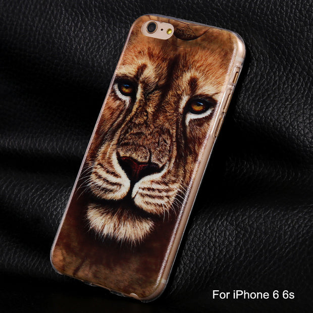 Phone Cases For Iphone6 Animal Tiger Owl Leopard Soft Silicone Rose Flowers Print Case Cover For Apple IPhone 6 6S Coque Fundas