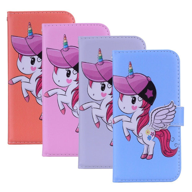 Phone Mirror Wallet Case For Huawei Nova 3 3i P Smart Plus Nova3 Nova3i 3E PU Leather Card Slot Cover Unicorn Pattern Coque Skin