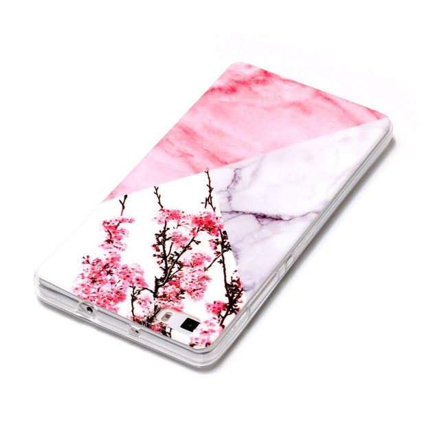 Pink Marble Soft Case For Huawei P8 Lite Star Silicone Back Phone Shell For Huawei P8 Lite Cover Plum Flower Stone Capinha Etui