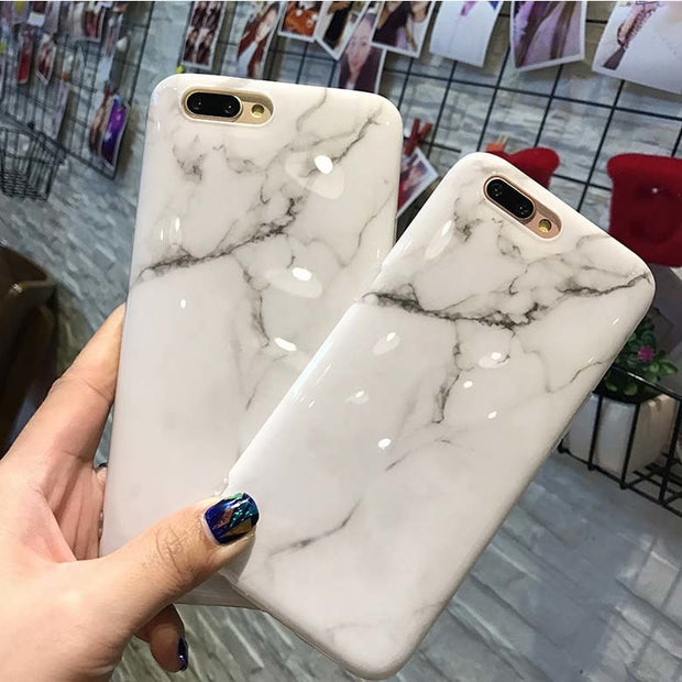 Pink Marble Stone Case On For IPhone 7 Plus 6 S Soft TPU Granite Image Paint Silicone Case For I Phone 8 Full Cover Gel Coque